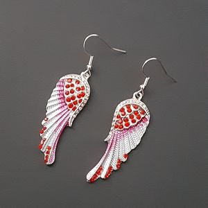 Beautiful Red And Silver Sparkling Wing Earrings